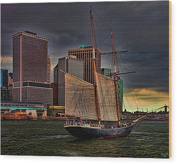Sailing On The East River Wood Print by Chris Lord