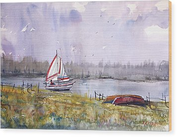 Sailing On White Sand Lake Wood Print by Ryan Radke