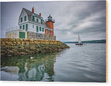 Wood Print featuring the photograph Sailing Past The Breakwater by Rick Berk
