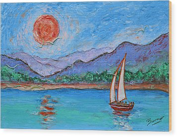 Wood Print featuring the painting Sailing Red Sun by Xueling Zou