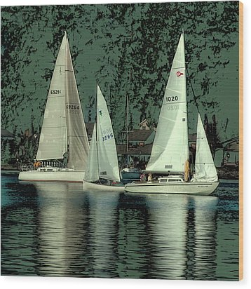 Wood Print featuring the photograph Sailing Reflections by David Patterson