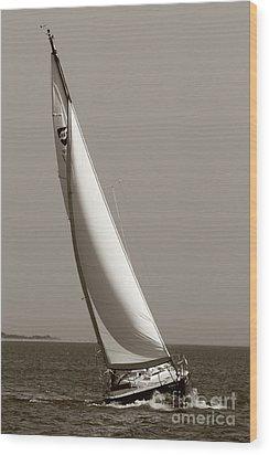 Sailing Sailboat Sloop Beating To Windward Wood Print by Dustin K Ryan