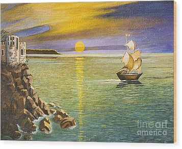 Sailing Ship And Castle Wood Print by Irina Afonskaya