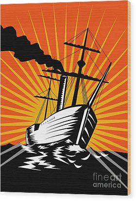 Sailing Ship Retro Woodcut Wood Print by Aloysius Patrimonio