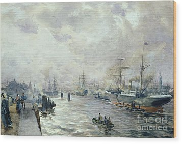 Sailing Ships In The Port Of Hamburg Wood Print by Carl Rodeck