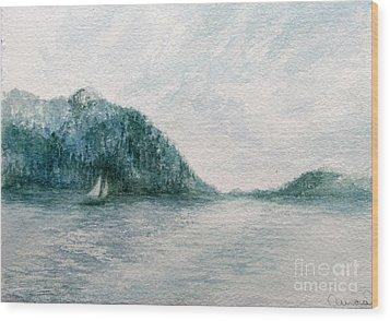 Sailing Sound 2 Wood Print by Aurora Jenson