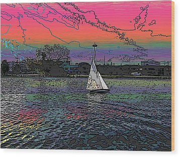 Sailing South Lake Union Wood Print by Tim Allen