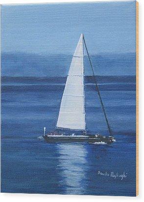Sailing The Blues Wood Print