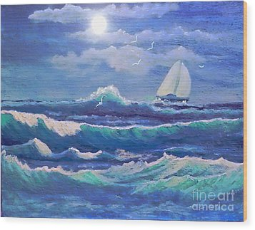 Sailing The Caribbean Wood Print by Holly Martinson