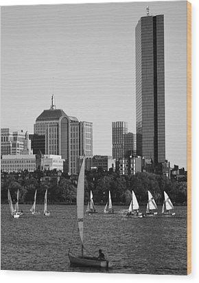 Sailing The Charles River Boston Ma Black And White Wood Print
