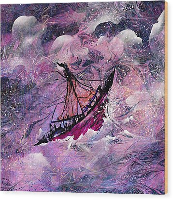 Sailing The Heavens Wood Print by Rachel Christine Nowicki