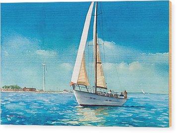 Sailing Through The Gut Wood Print by Laura Lee Zanghetti