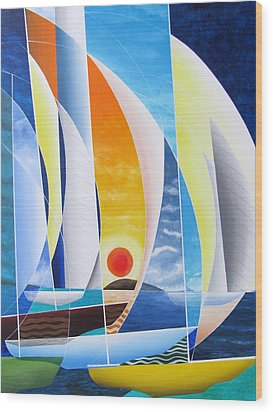 Wood Print featuring the painting Sailing Till Sunset by Douglas Pike