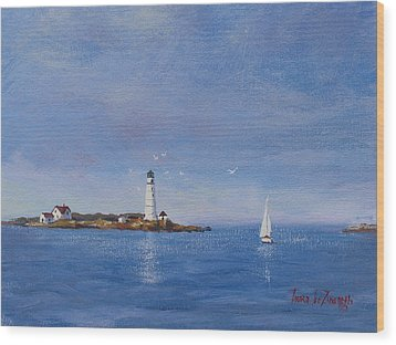 Sailing To Boston Light Wood Print by Laura Lee Zanghetti