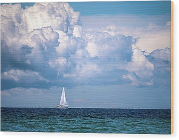Sailing Under The Clouds Wood Print