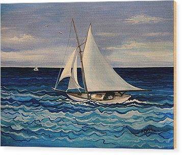 Sailing With The Waves Wood Print by Elizabeth Robinette Tyndall