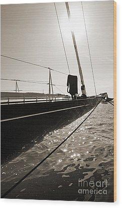 Sailing Yacht Hanuman J Boat Bow Wood Print by Dustin K Ryan