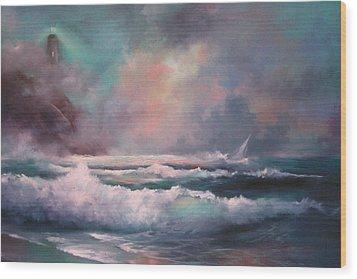 Sailors Plight Wood Print by Sally Seago
