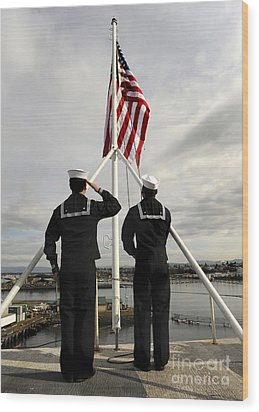 Sailors Raise The National Ensign Wood Print by Stocktrek Images