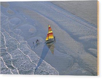 Sailors Take To The Ocean While Wood Print by Kenneth Garrett
