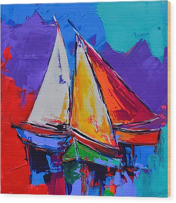 Wood Print featuring the painting Sails Colors by Elise Palmigiani