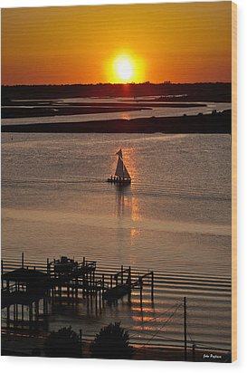 Sails In The Sunset Wood Print