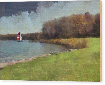 Sails On Lake Wampum Wood Print by Cedric Hampton