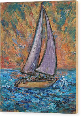 Wood Print featuring the painting Sails Up by Xueling Zou