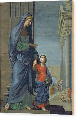 Saint Anne Leading The Virgin To The Temple Wood Print by Jacques Stella