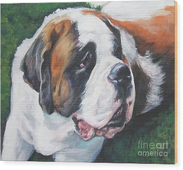 Saint Bernard Wood Print by Lee Ann Shepard