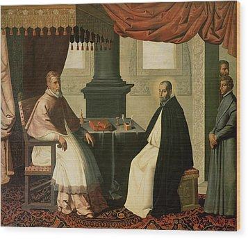 Saint Bruno And Pope Urban II Wood Print by Francisco de Zurbaran