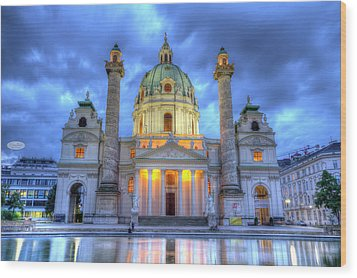 Saint Charles's Church At Karlsplatz In Vienna, Austria, Hdr Wood Print
