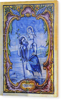 Saint Christopher Carrying The Christ Child Across The River - Near Entrance To The Carmel Mission Wood Print