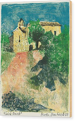 Wood Print featuring the painting Saint Donat Provence by Martin Stankewitz