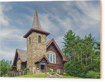 Wood Print featuring the photograph Saint Eustace Episcopal Church Lake Placid  -  1927steustaceepiscopal172559 by Frank J Benz