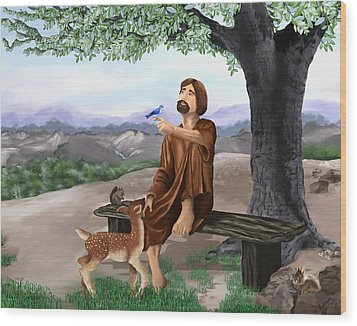 Wood Print featuring the painting Saint Francis by Susan Kinney