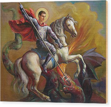 Wood Print featuring the painting Saint George And The Dragon by Svitozar Nenyuk
