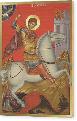 Saint George Wood Print by Daniel Neculae