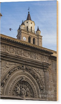 Wood Print featuring the photograph Saint Hieronymus Facade Of Calahorra Cathedral by RicardMN Photography