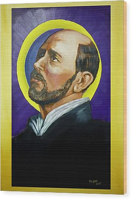 Wood Print featuring the painting Saint Ignatius Loyola by Bryan Bustard