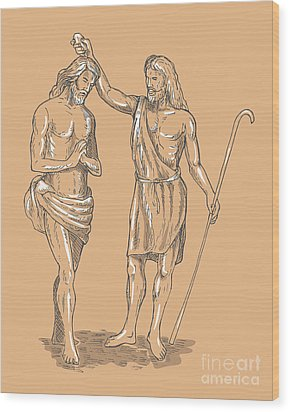 Saint John The Baptist Wood Print by Aloysius Patrimonio