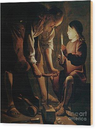 Saint Joseph The Carpenter  Wood Print by Georges de la Tour