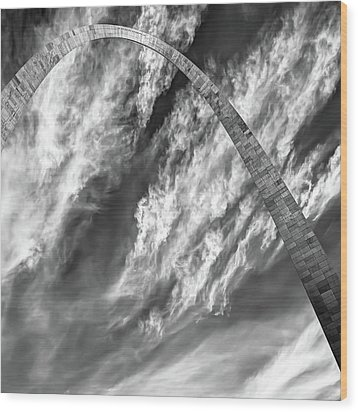 Wood Print featuring the photograph Saint Louis Arch And Clouds Right Black And White 1x1 by Gregory Ballos