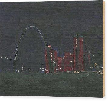 Saint Louis Skyline Wood Print by Joseph A Langley
