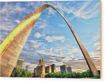Saint Louis Skyline Morning Under The Arch Wood Print by Gregory Ballos