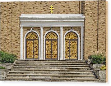 Wood Print featuring the photograph Saint Marys Orthodox Church Entrance Doors  -  1937stmarysorthodox172409 by Frank J Benz