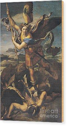 Saint Michael Overwhelming The Demon Wood Print by Raphael