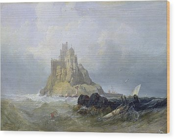 Saint Michael's Mount In Cornwall  Wood Print by William Clarkson Stanfield