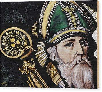 Saint Patrick Wood Print by Leeann Stumpf