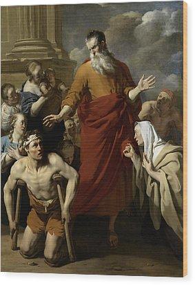Saint Paul Healing The Cripple At Lystra Wood Print by Karel Dujardin
